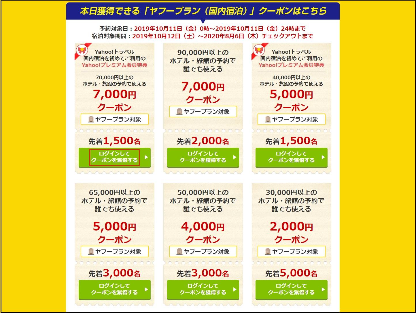 ヤフートラベルのキャンペーンページ